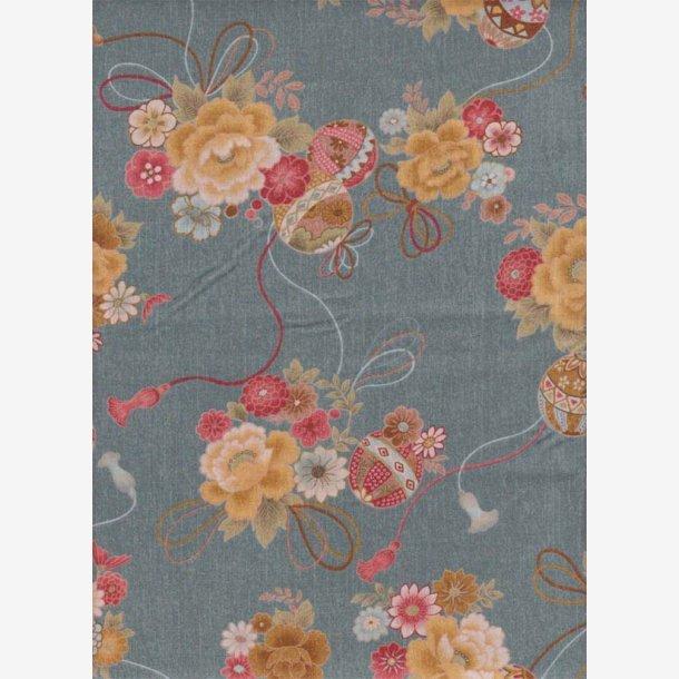 Blomsterbuketter på gråblå