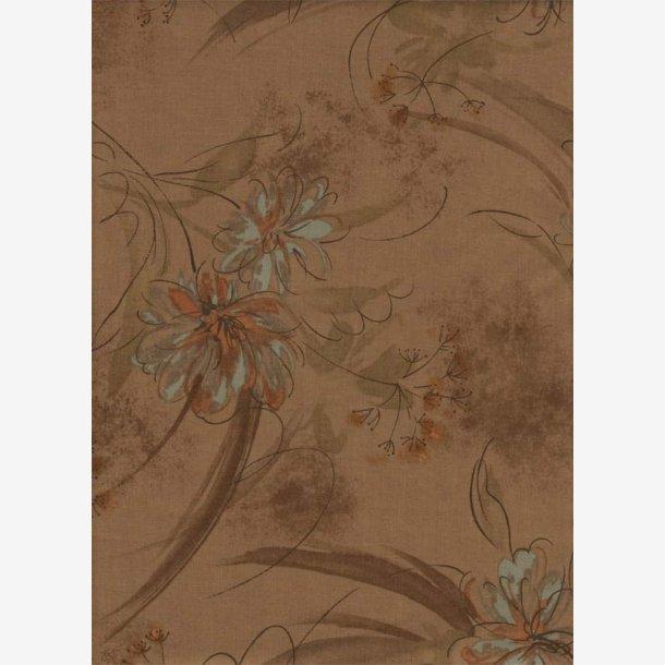 Blomster med lyseblåt på brun