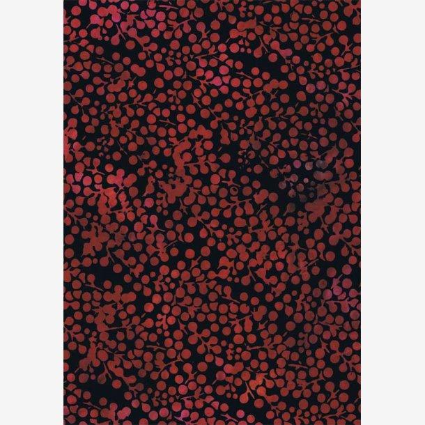 Røde bær på sort (batik)