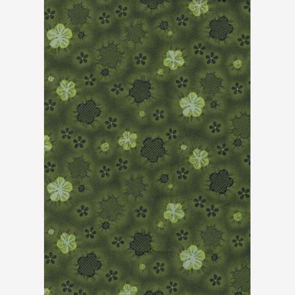 Stiliserede blomster på grøn