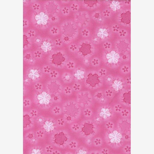 Stiliserede blomster på pink