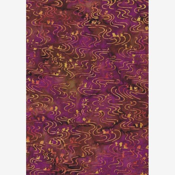 Bølgelinier på lilla/brun (batik)