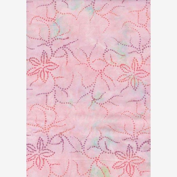 Stiliserede blomster på lys rosa