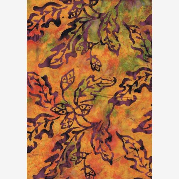 Aubergine blade på orange/grøn (batik)