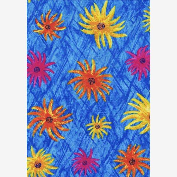 Blomster på blå baggrund