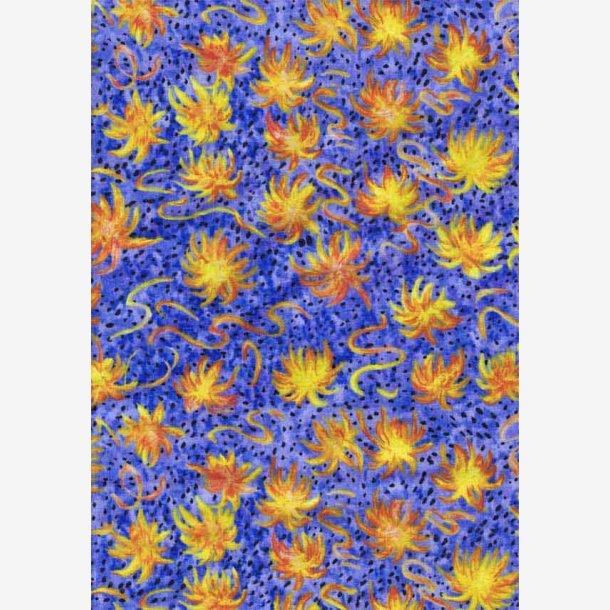 Gul/orange blomster på lys blålilla