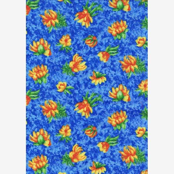 Små gule/orange blomster på blå