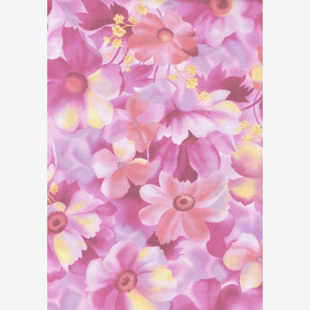 Pink blomster på lyslilla