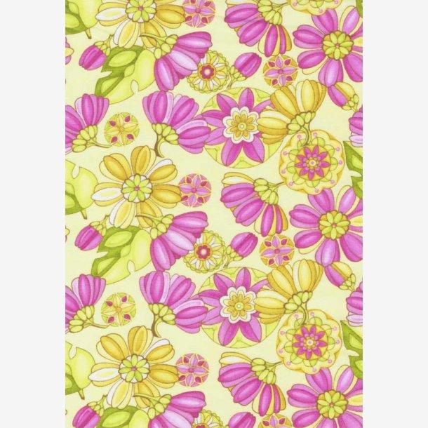 Blomster på lys gul