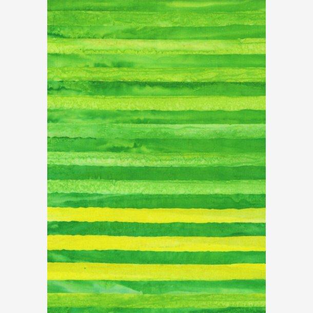 Gule og grønne striber - batik
