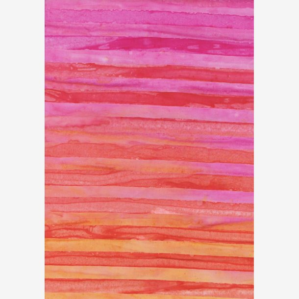 Pink/rødlilla/orange striber - batik