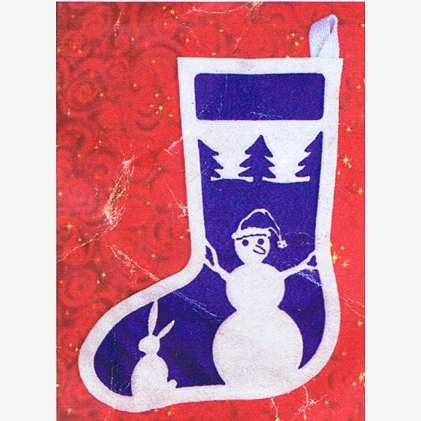 Snemand på blå/Julesok af filt