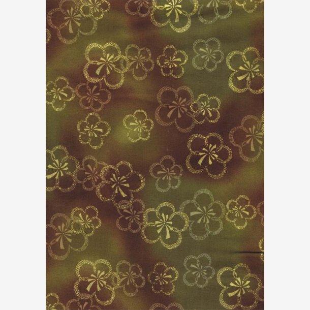 Stiliserede blomster på grøn/lys brun