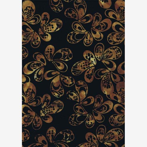 Brune 'blade' på sort (batik)