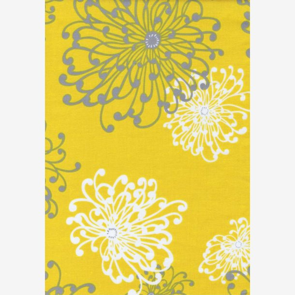 Grå og hvide blomstertegninger på gul
