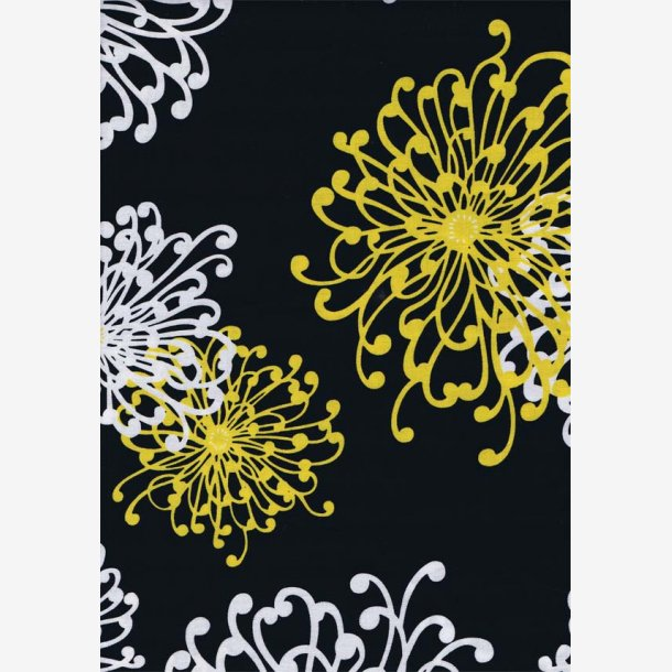 Gule og hvide blomstertegninger på sort