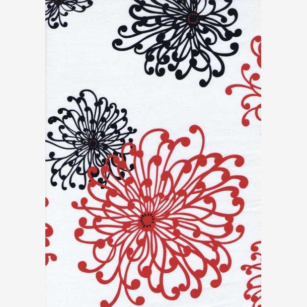 Røde og sorte blomstertegninger på hvid