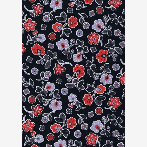Røde/grå blomster på sort