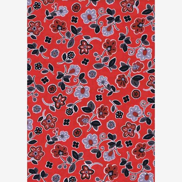 Grå/mørkerøde blomster på rød