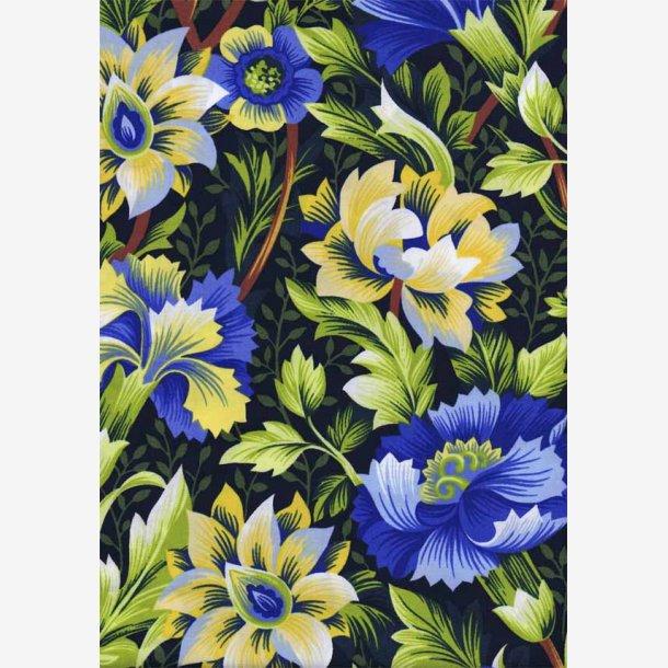 Store fantasiblomster - gul/blå