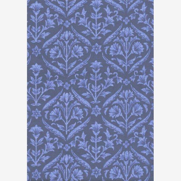 Lys blå damask mønster på marineblå