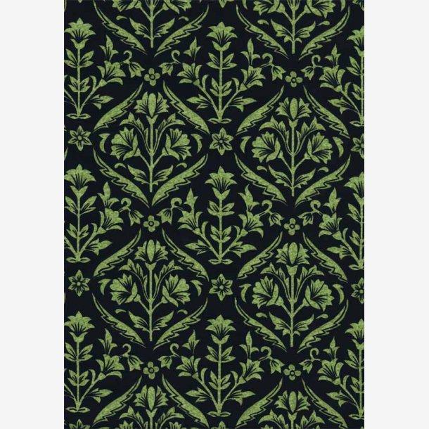 Grøn damask mønster på sort