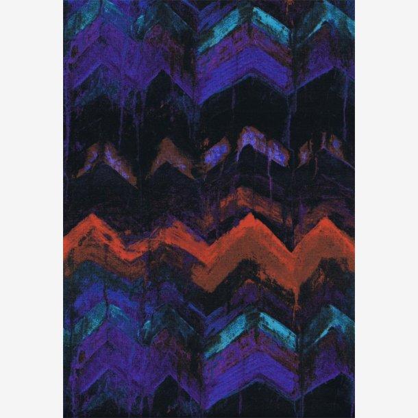 Lilla/turkis/orange zig zag mønster