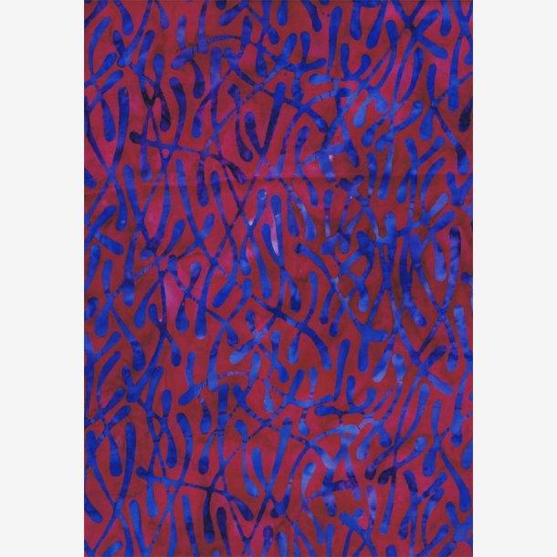 Rød/cyklamen batik med blå