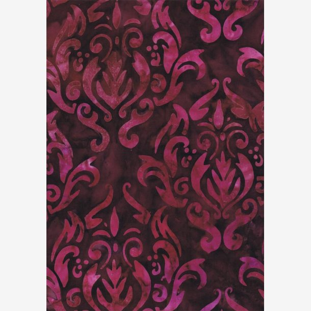 Rødviolet batik med damaskmønster