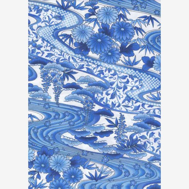 Blå bølger og blomster