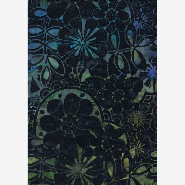 Blå/grøn/turkis mønster på midnatsblå
