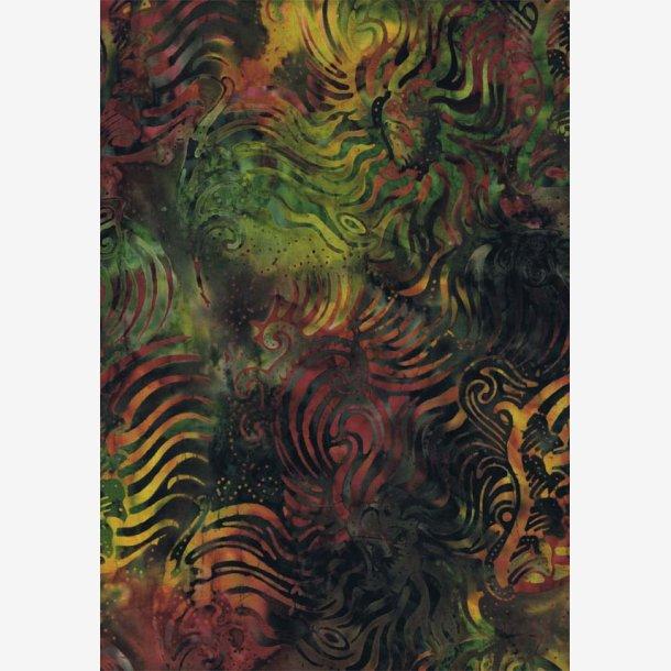 Grønt/gyldent bagsidestof (batik)