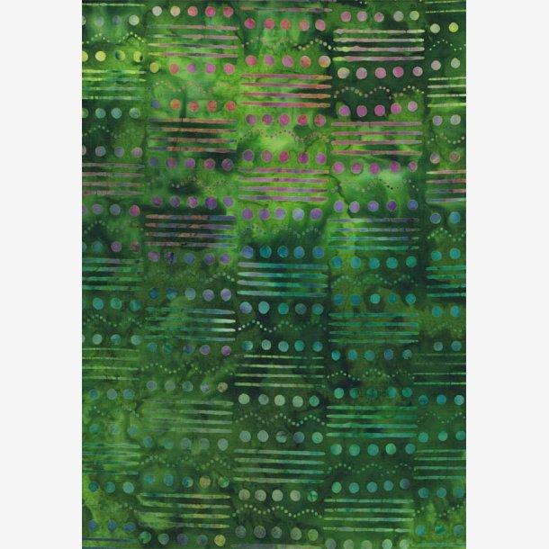 Grøn batik med multifarvede prikker og streger