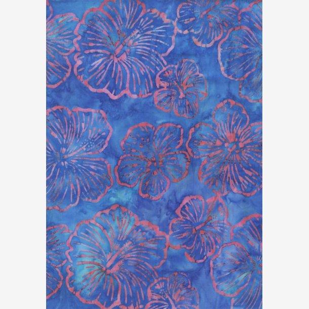 Hibiscus på blå (batik)