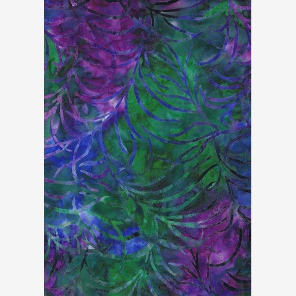 Multifarvet batik med bladmønster
