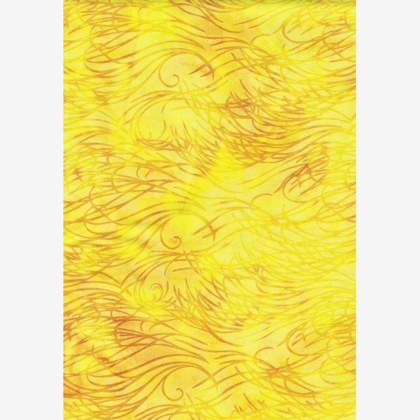 Gul batik med gyldne bølger
