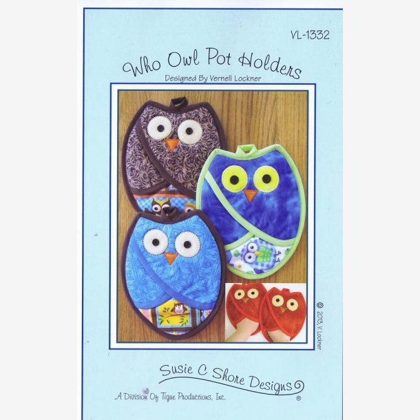 Who Owl Pot Holders - mønster til 'grillhandsker'