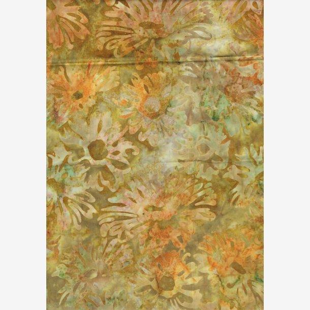 Lys oliven med blomster (batik)