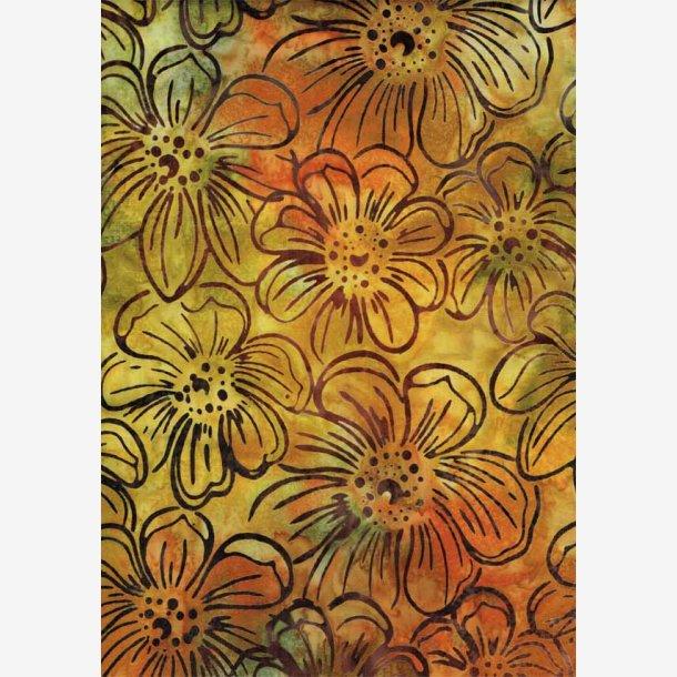 Blomster på gylden (batik)