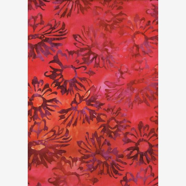 Blomster på rødorange (batik)