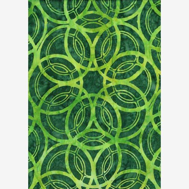 Limefarvede cirkler på grøn (batik)