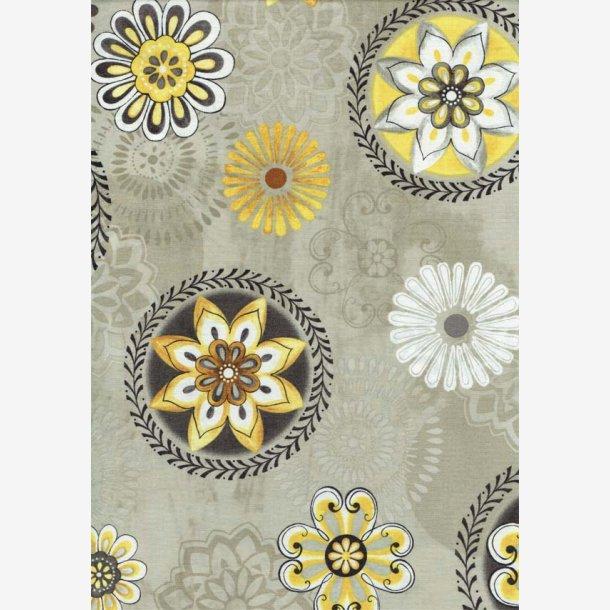Blomstermedaljoner på lys gråbrun