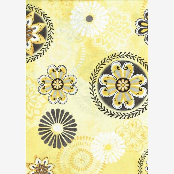 Blomstermedaljoner på lys gul