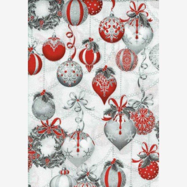 Røde/sølv julemotiver på hvid