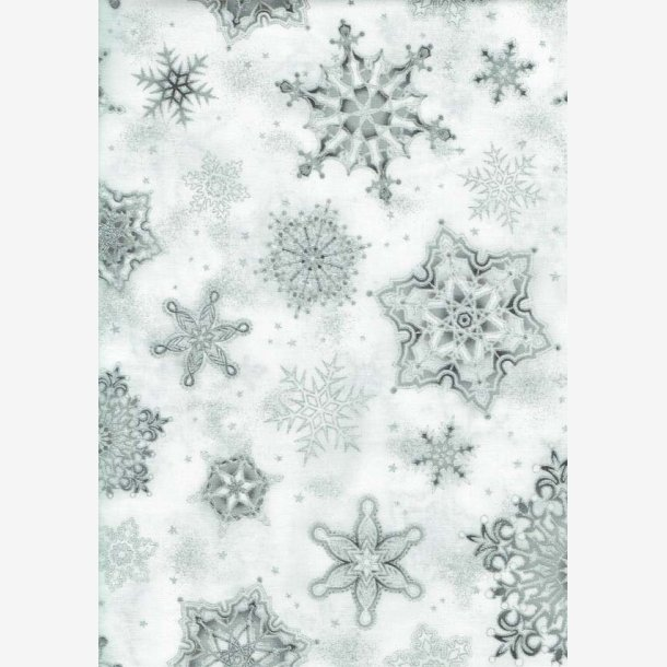Sølv snefnug på hvid