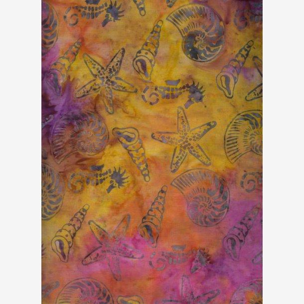 'Havdyr' på gul/pink/lilla batik