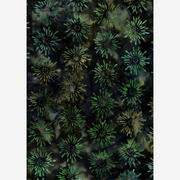 Mørk (grå)grøn batik med grønt 'fyrværkeri'