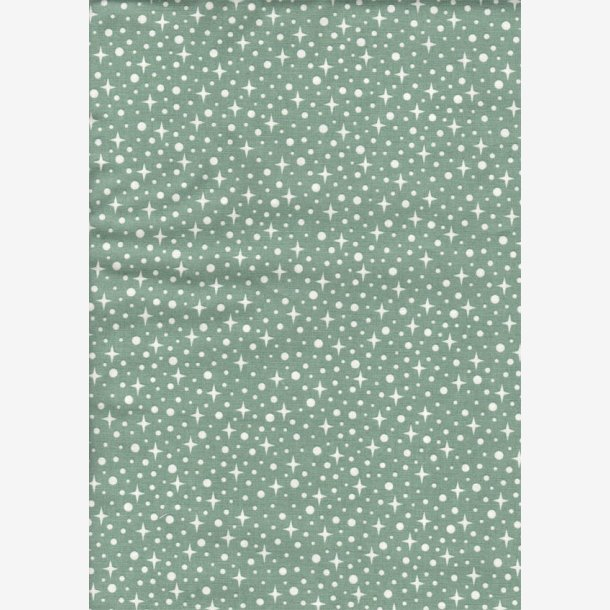 Støvet grøn med prikker og stjerner
